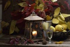 Vino blanco y peras en una cesta wattled y una linterna vieja Fotografía de archivo libre de regalías