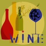 Vino, botellas y vidrios Foto de archivo