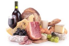 Vino, carne y queso Imágenes de archivo libres de regalías