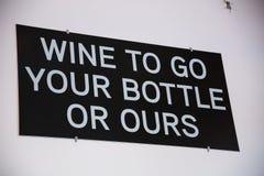 Vino da andare la vostra bottiglia o le nostre Fotografia Stock Libera da Diritti