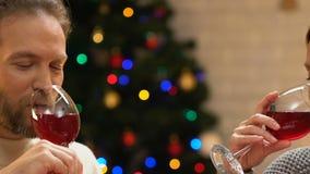 Vino de consumición de los pares jovenes en la Navidad, el romance y el humor festivo, primer almacen de metraje de vídeo