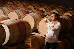 Vino de la prueba del hombre en un sótano-Winemaker Imagen de archivo libre de regalías