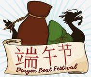 Vino del Realgar, gnocco di Zongzi e Dragon Boat per il festival di Duanwu, illustrazione di vettore Fotografia Stock