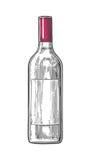 Vino della bottiglia Illustrazione incisa annata nera isolata su fondo bianco Per l'etichetta, manifesto, web Fotografie Stock