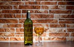 Vino della bottiglia sul mattone Fotografie Stock Libere da Diritti