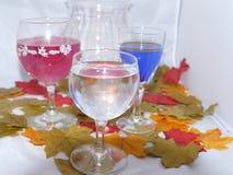 Vino di autunno dalla luce della candela fotografia stock