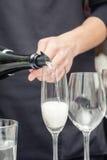 Vino di versamento del sommelier al vetro di vino Fotografie Stock Libere da Diritti