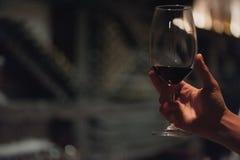 Vino di versamento della tenuta del sommelier maschio in bicchieri di vino dal gambo lungo Immagini Stock