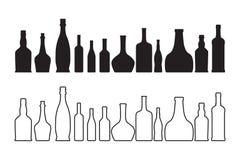 Vino di vettore e bottiglia di whiskey Fotografie Stock