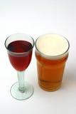Vino e birra Fotografia Stock Libera da Diritti