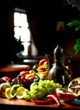 Vino e frutta Immagini Stock