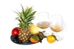 Vino e frutta Fotografie Stock