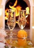 Vino e fuoco Immagini Stock