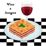 Vino e lasagne. Clip art style illustration of a lasagne portion with a glass of red wine Stock Images