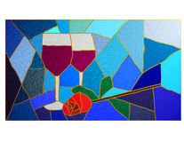 Vino e vetro macchiato della Rosa Fotografia Stock