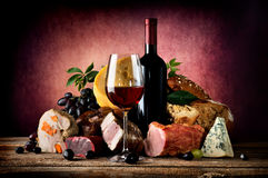Vino ed alimento Fotografia Stock