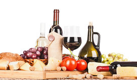 Vino ed alimento isolati Fotografie Stock