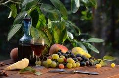 Vino ed uva su una tavola di legno Immagini Stock Libere da Diritti