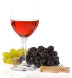 Vino en fruta del vidrio y de la uva Foto de archivo