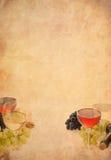 Vino en fruta del vidrio y de la uva Imagenes de archivo