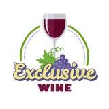 Vino exclusivo Logo Icon Symbol de la bebida de la élite Fotos de archivo