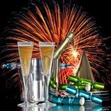 Vino festivo de Champán de la celebración de los fuegos artificiales Imagen de archivo libre de regalías