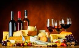Vino, formaggio e frutta Fotografie Stock