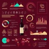 Vino infographic en fondo vinoso Fotos de archivo