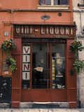 Vino. Orange Vino-liquori shop in Verona Stock Photo