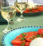 Vino, pomodori e formaggio Fotografia Stock Libera da Diritti