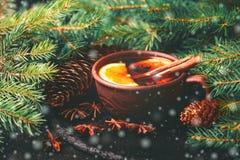 Vino reflexionado sobre caliente Ramificaciones y conos del árbol de navidad holidays Foto de archivo libre de regalías