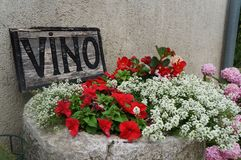 Vino Restaurant Sign Motovun, Istria, Croatia, Europe. A Vino (wine) Sign, outside restaurant in the  Village of Motovun, Istria, Croatia with red, white and Stock Photography