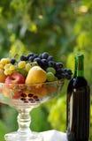Vino rojo con la cesta de fruta Fotos de archivo