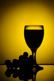 Vino rojo con la silueta de las uvas Fotos de archivo