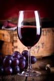 Vino rojo con las uvas azules frescas Imagenes de archivo