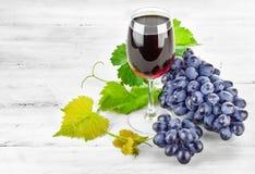 Vino rojo de cristal con las uvas del racimo Fotografía de archivo libre de regalías