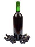 Vino rojo en botella y uvas Fotografía de archivo libre de regalías