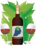Vino rojo en botella y vidrio libre illustration