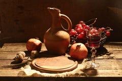 Vino rojo sometido con la fruta y las nueces Fotografía de archivo libre de regalías