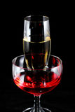 Vino rojo y champán Foto de archivo