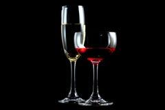 Vino rojo y champán Fotografía de archivo libre de regalías