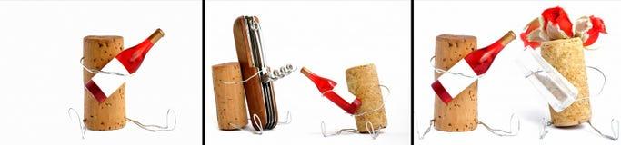 Vino rojo y corck Fotografía de archivo