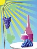 Vino rojo y uvas. Imagenes de archivo