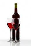 vino rojo y vidrio Imagenes de archivo