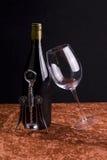 Vino rojo y vidrio cristalino Fotografía de archivo