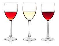 Vino rosso bianco e di rosè, Immagine Stock Libera da Diritti