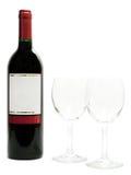 Vino rosso con i bicchieri di vino Fotografie Stock