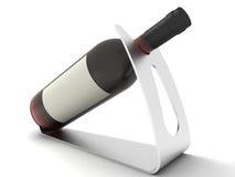 Vino rosso con label.on in bianco un basamento. Immagine Stock Libera da Diritti