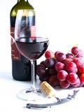 Vino rosso della riserva di Chianti, vetro, uva Fotografia Stock