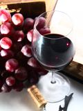 Vino rosso della riserva di Chianti, vetro, uva Immagini Stock
